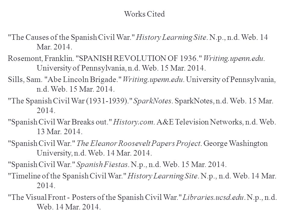Works Cited The Causes of the Spanish Civil War