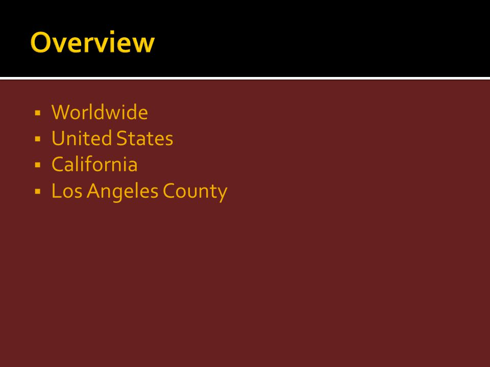 Overview Worldwide United States California Los Angeles County