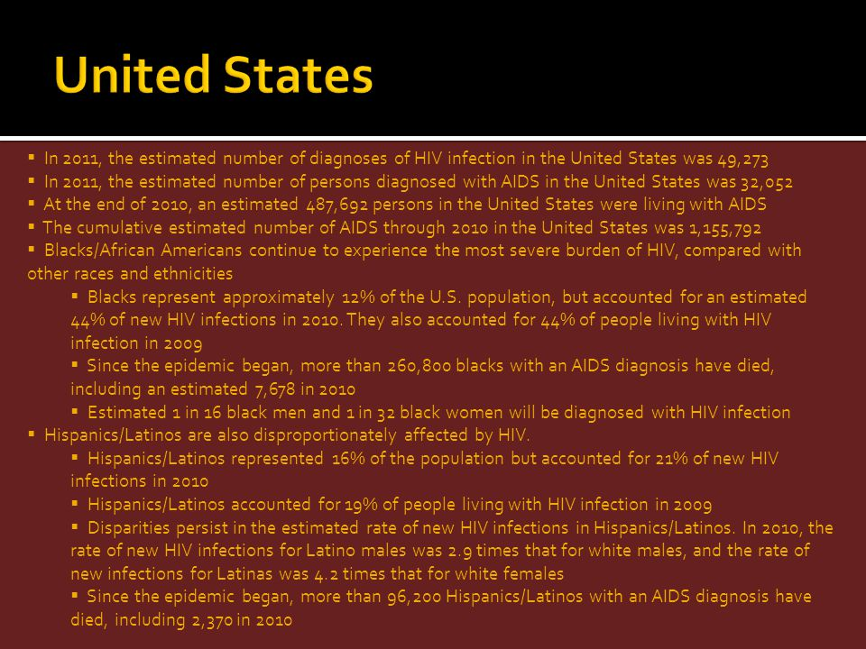 United States In 2011, the estimated number of diagnoses of HIV infection in the United States was 49,273.
