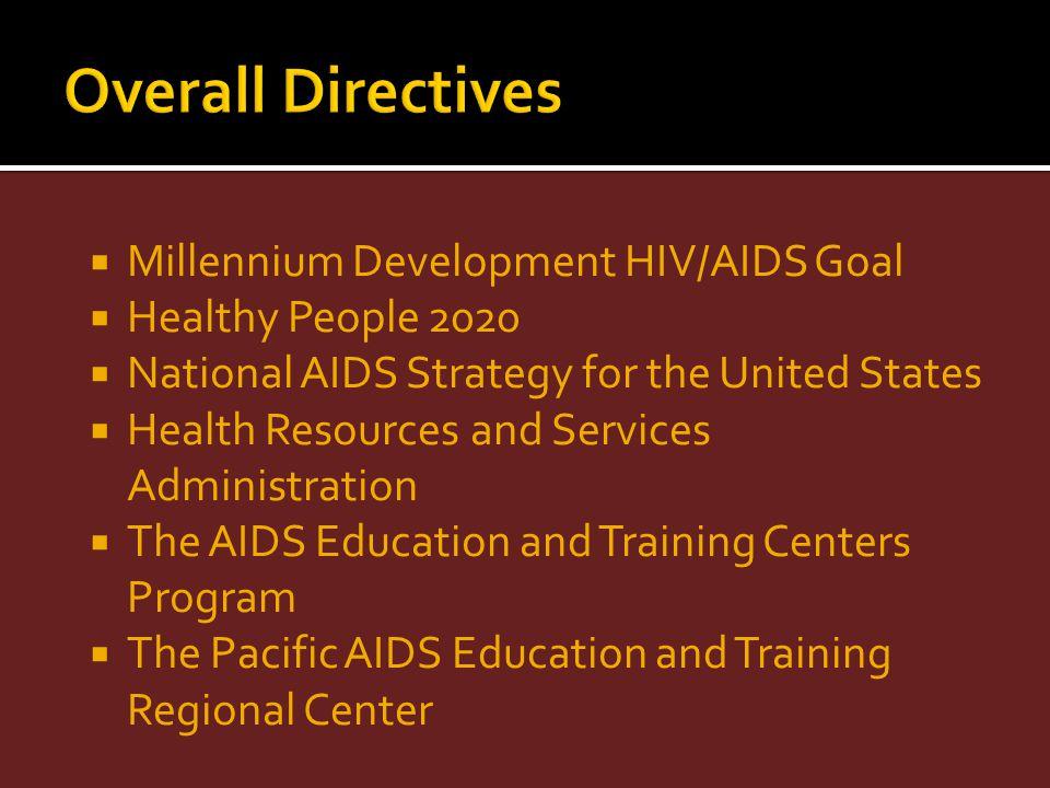 Overall Directives Millennium Development HIV/AIDS Goal
