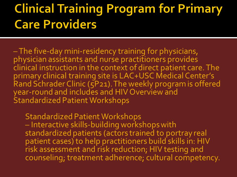 Clinical Training Program for Primary Care Providers