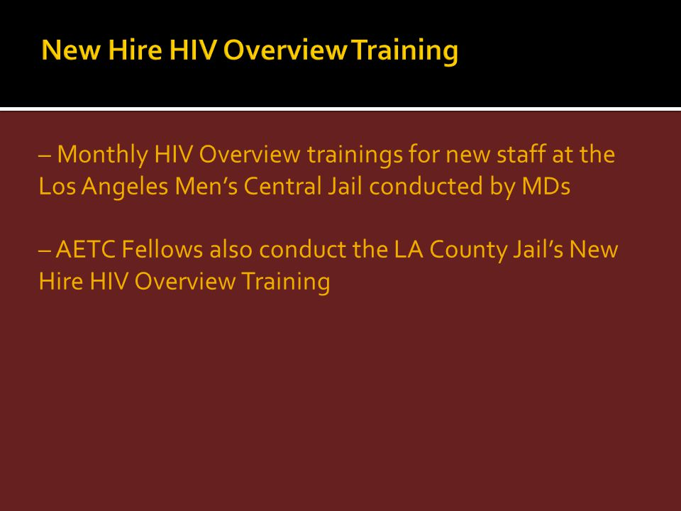 New Hire HIV Overview Training