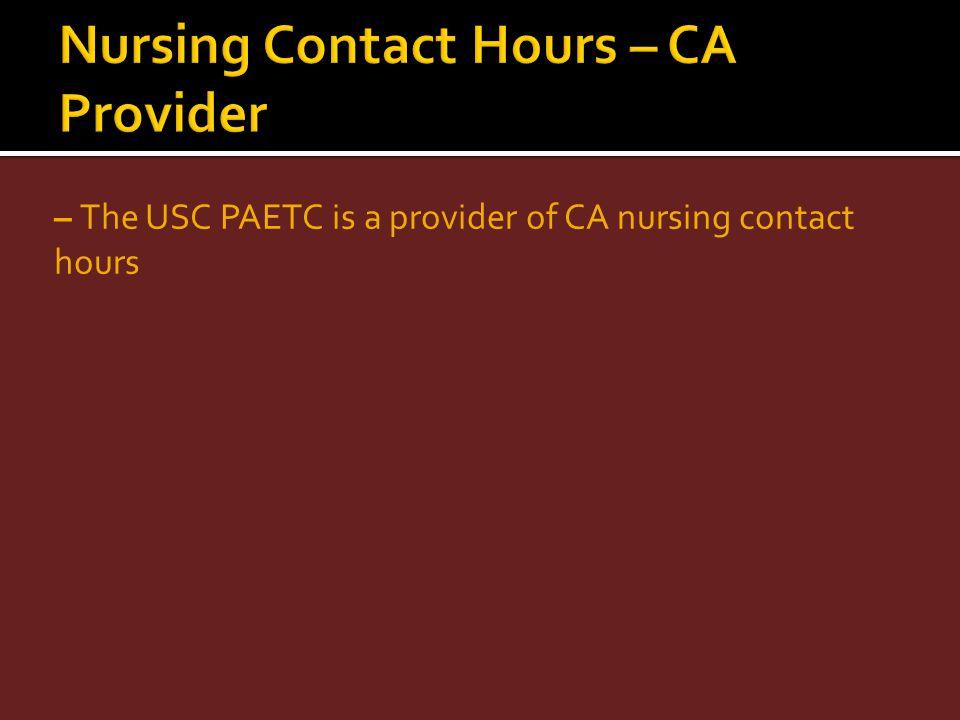 Nursing Contact Hours – CA Provider
