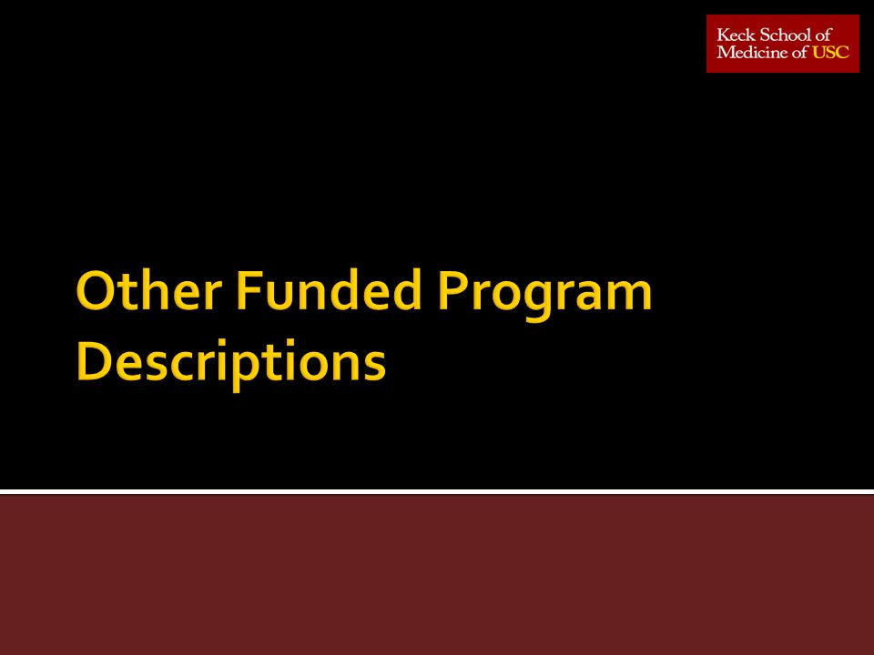 Other Funded Program Descriptions