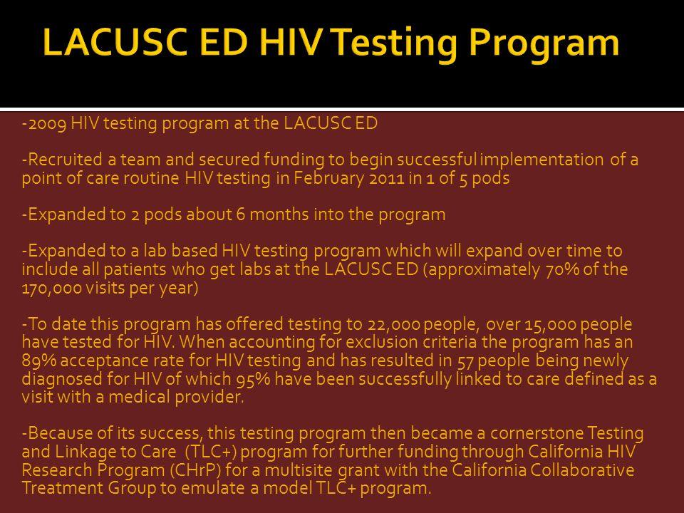 LACUSC ED HIV Testing Program
