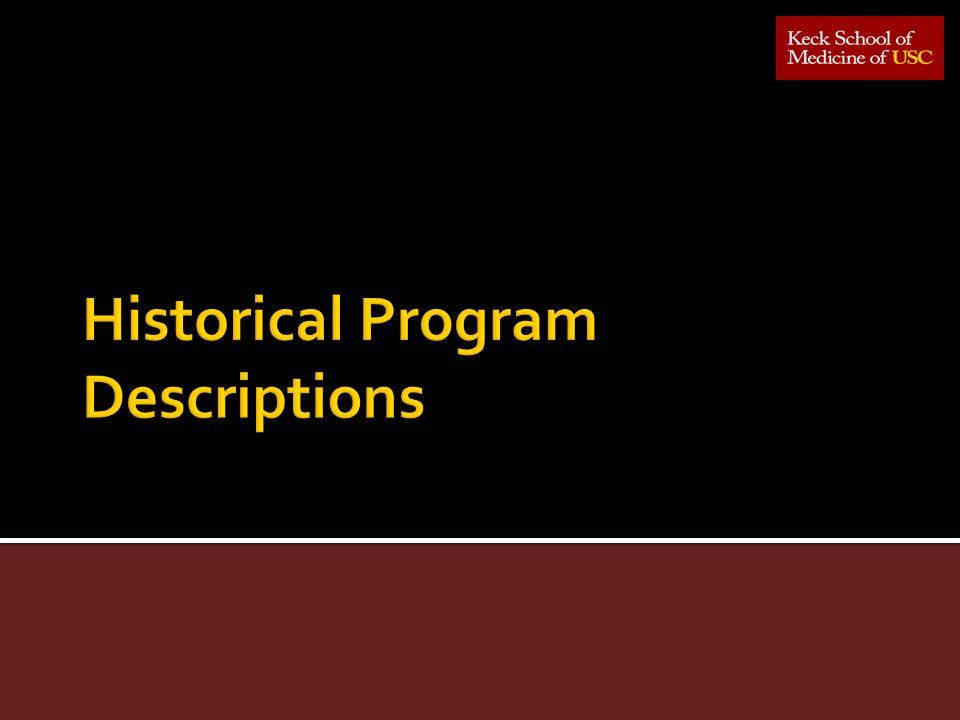 Historical Program Descriptions