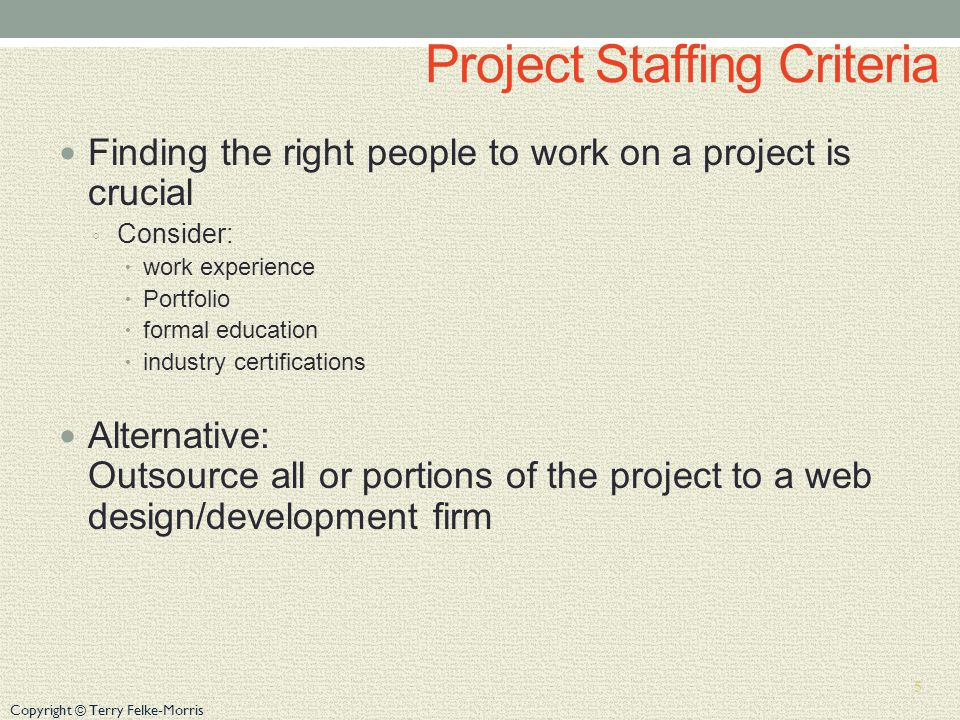 Project Staffing Criteria