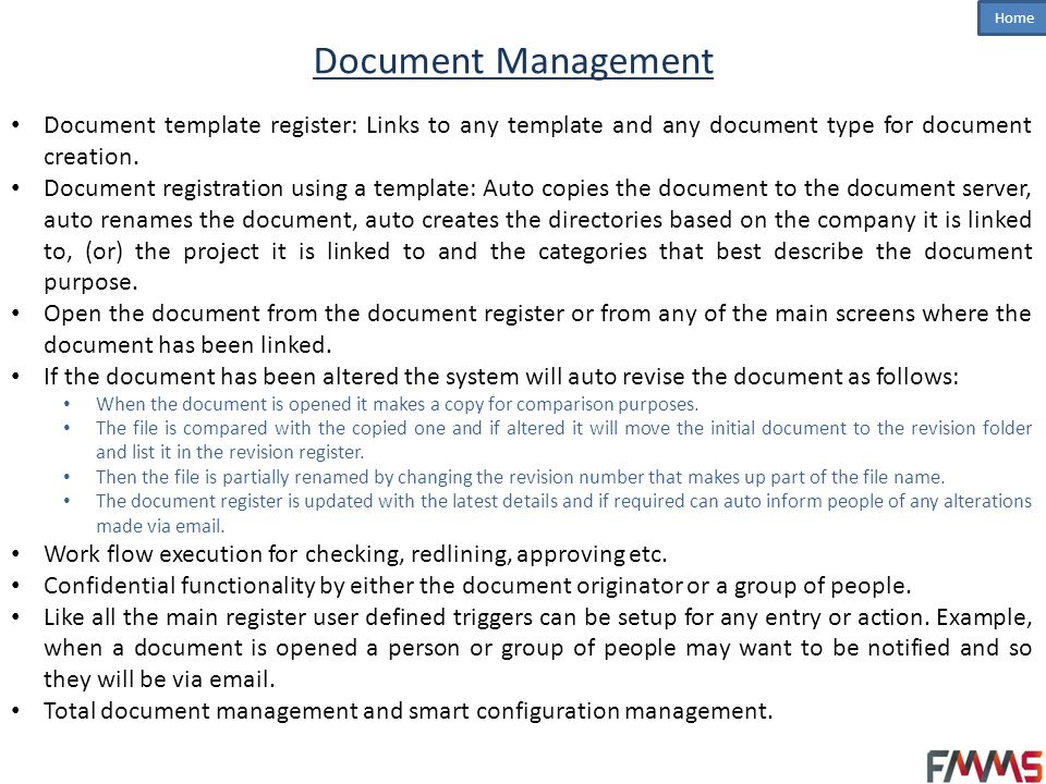 Document Management Document template register: Links to any template and any document type for document creation.