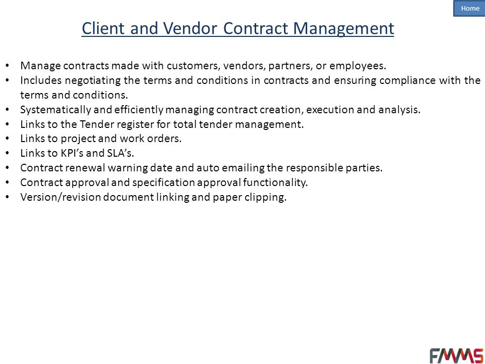 Client and Vendor Contract Management