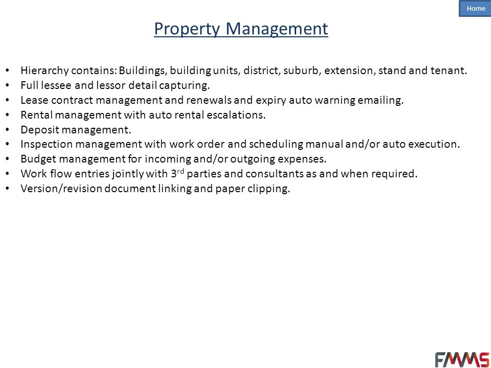 Property Management Hierarchy contains: Buildings, building units, district, suburb, extension, stand and tenant.