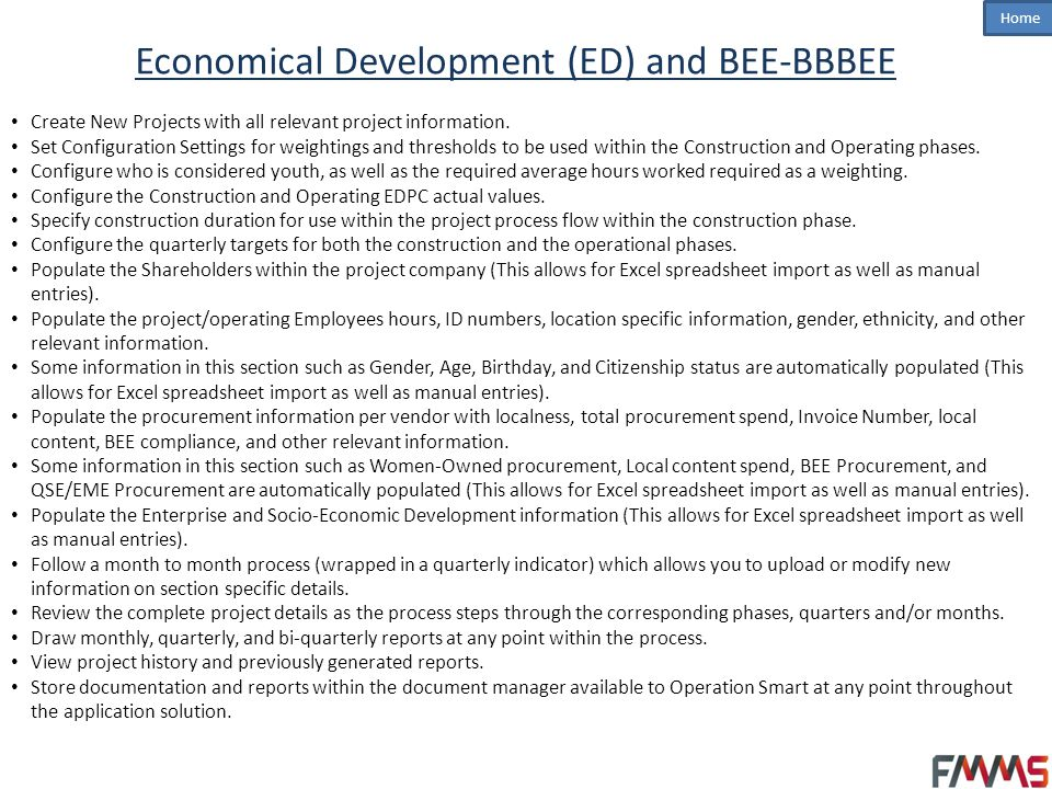 Economical Development (ED) and BEE-BBBEE