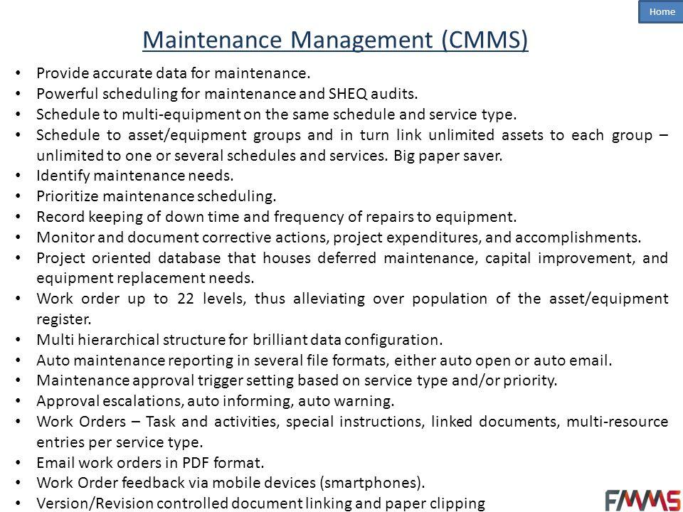 Maintenance Management (CMMS)