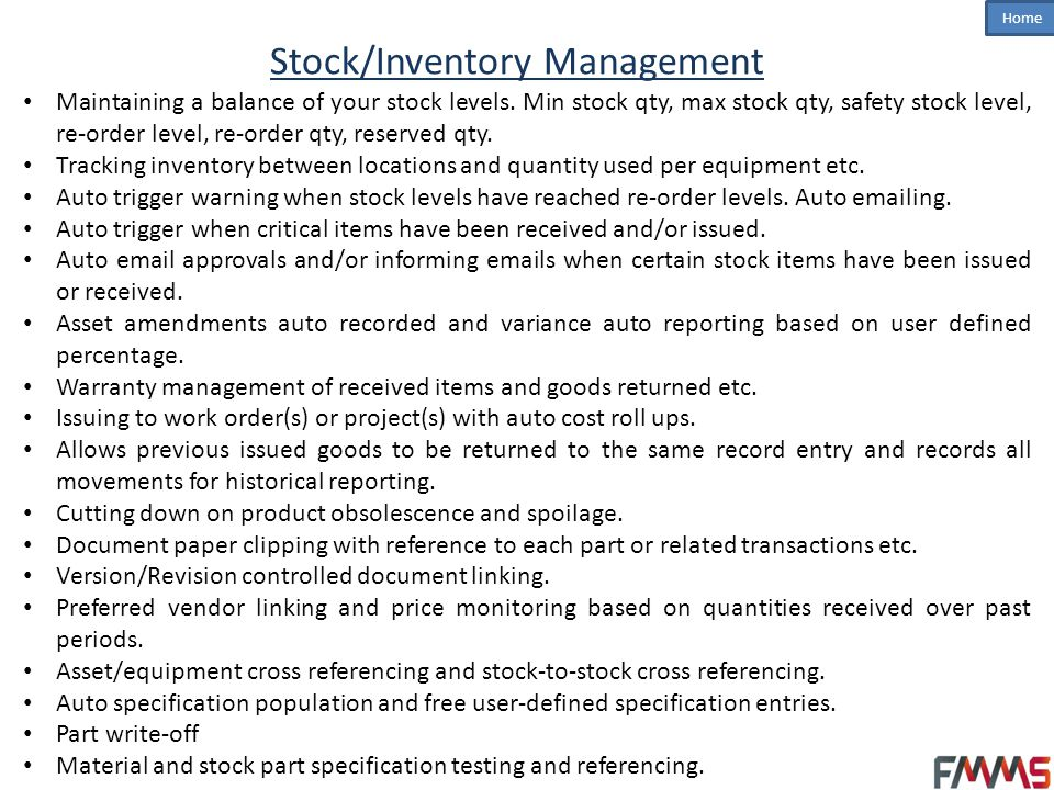 Stock/Inventory Management