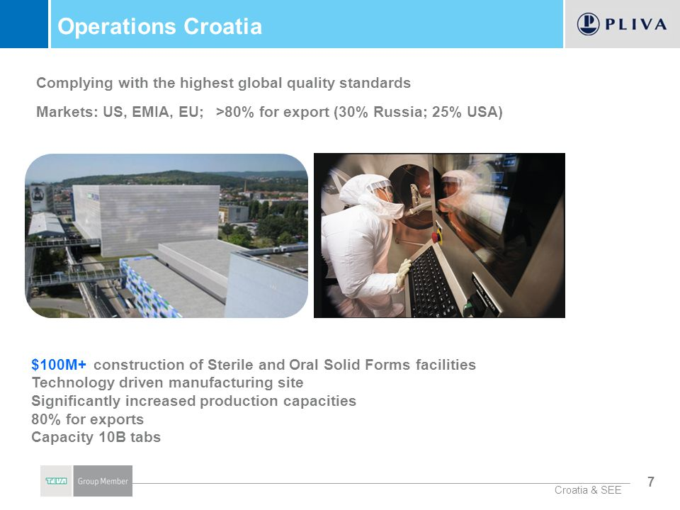 Operations Croatia Complying with the highest global quality standards Markets: US, EMIA, EU; >80% for export (30% Russia; 25% USA)