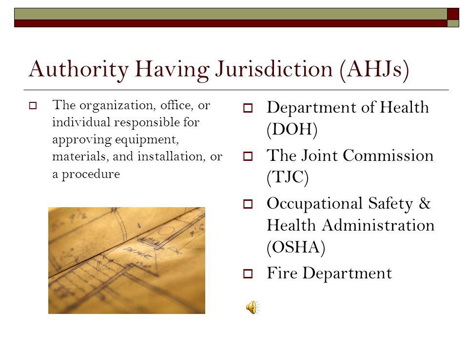 Authority Having Jurisdiction (AHJs)