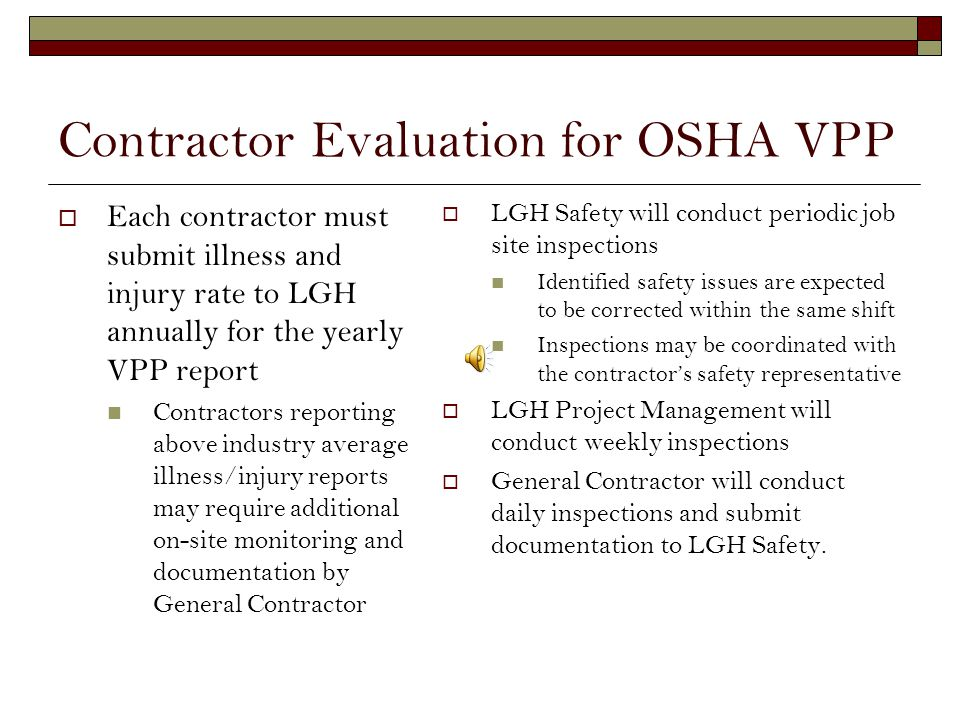 Contractor Evaluation for OSHA VPP