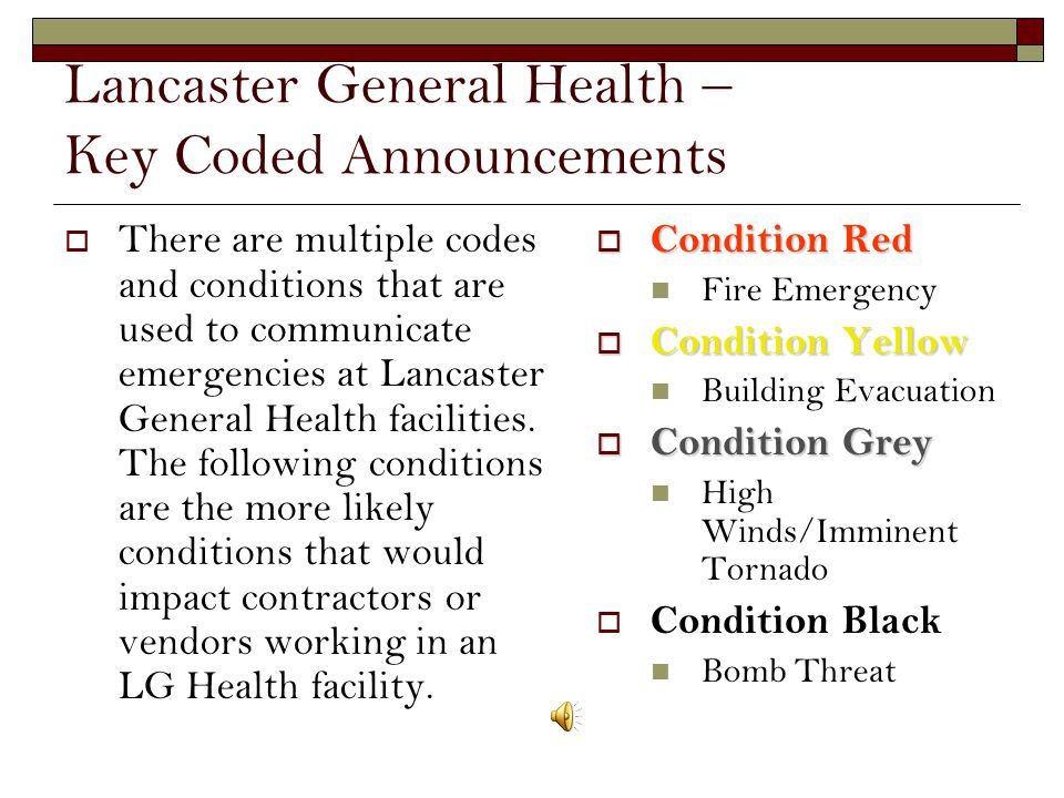 Lancaster General Health – Key Coded Announcements