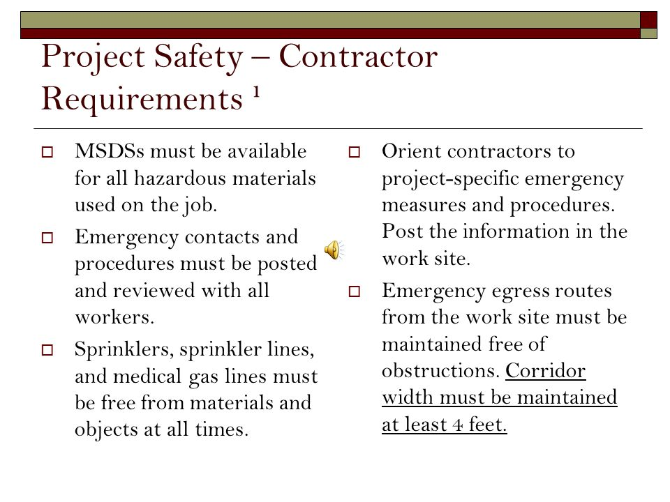 Project Safety – Contractor Requirements ¹