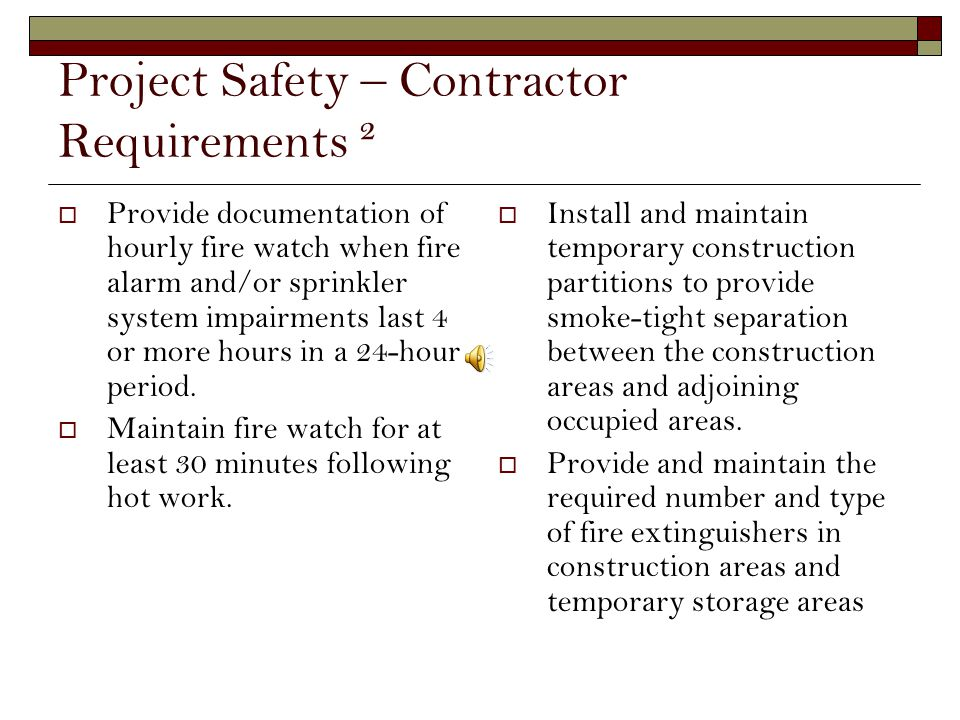 Project Safety – Contractor Requirements ²