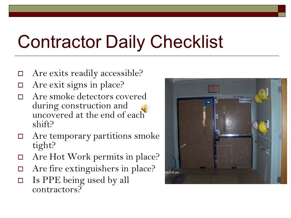 Contractor Daily Checklist