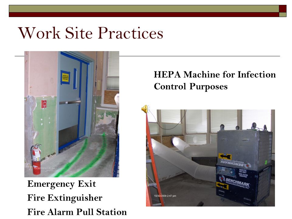Work Site Practices HEPA Machine for Infection Control Purposes