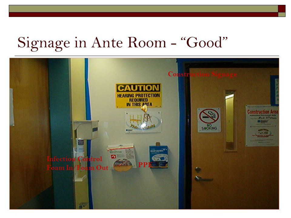 Signage in Ante Room - Good