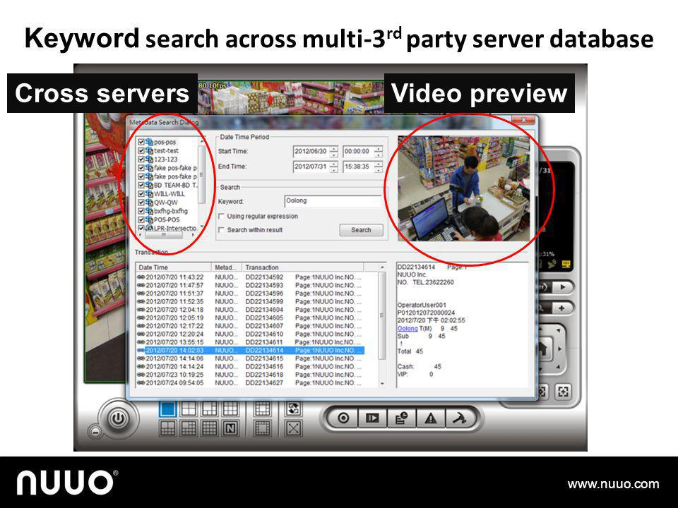 Keyword search across multi-3rd party server database