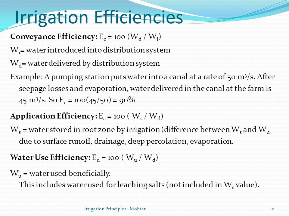 Irrigation Efficiencies