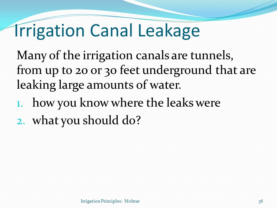 Irrigation Canal Leakage