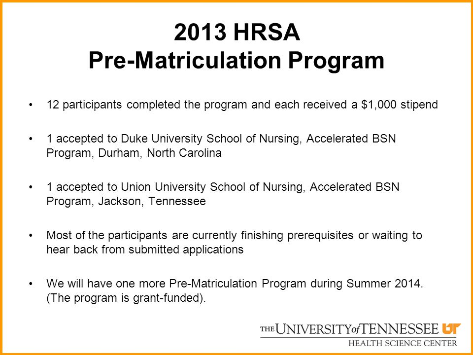 2013 HRSA Pre-Matriculation Program