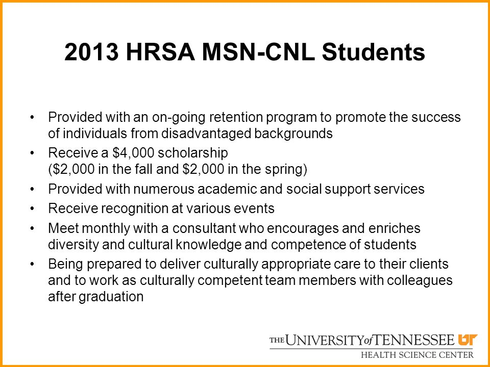 2013 HRSA MSN-CNL Students Provided with an on-going retention program to promote the success of individuals from disadvantaged backgrounds.