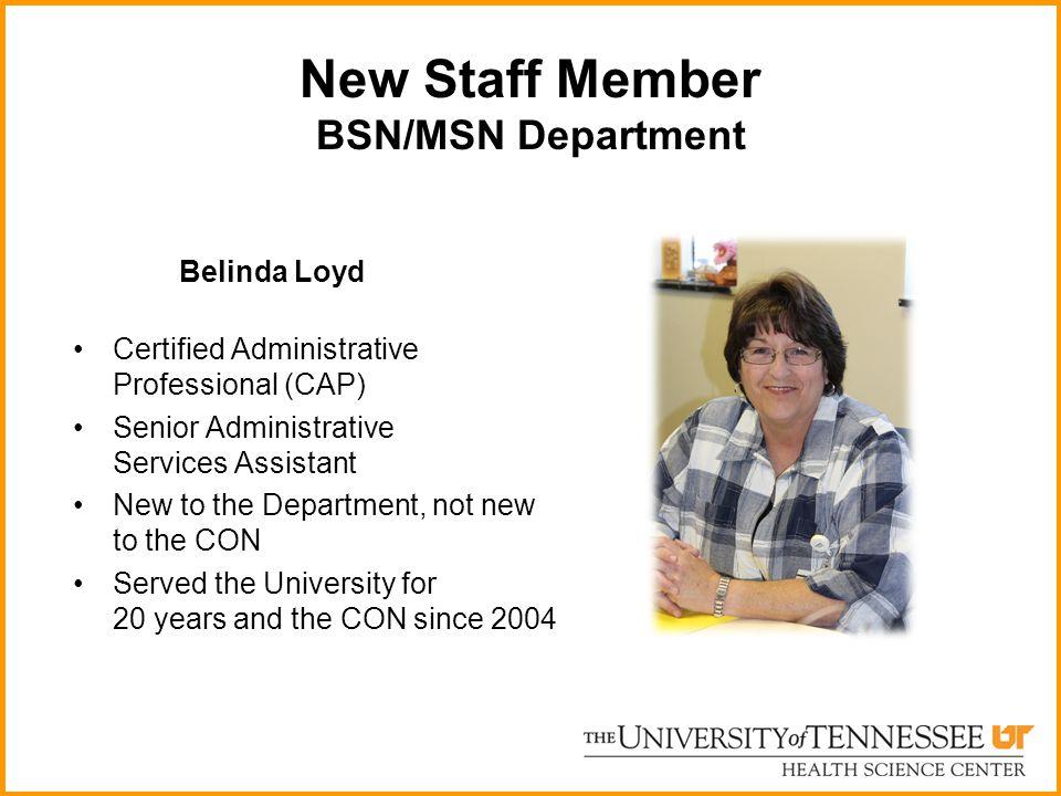 New Staff Member BSN/MSN Department