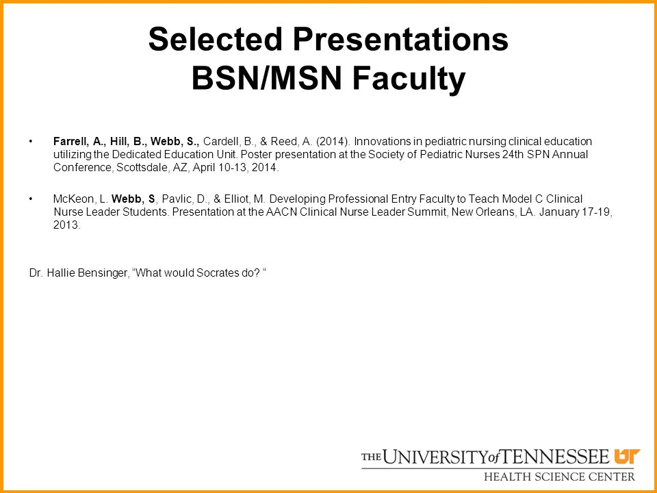 Selected Presentations BSN/MSN Faculty
