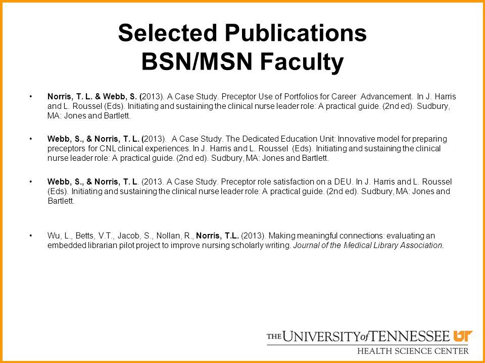 Selected Publications BSN/MSN Faculty
