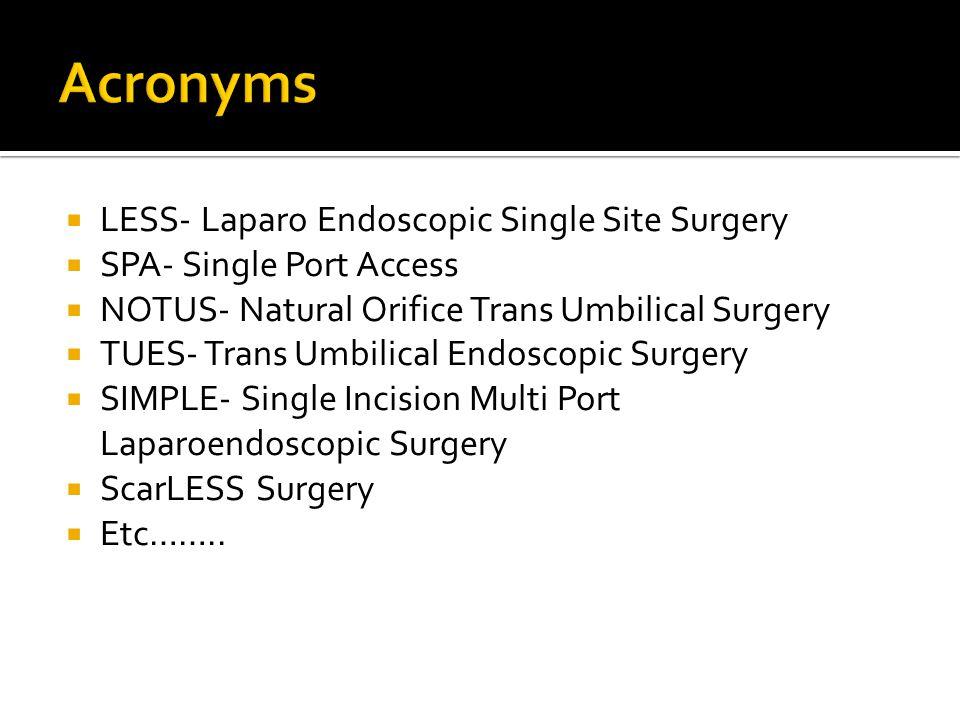 Acronyms LESS- Laparo Endoscopic Single Site Surgery