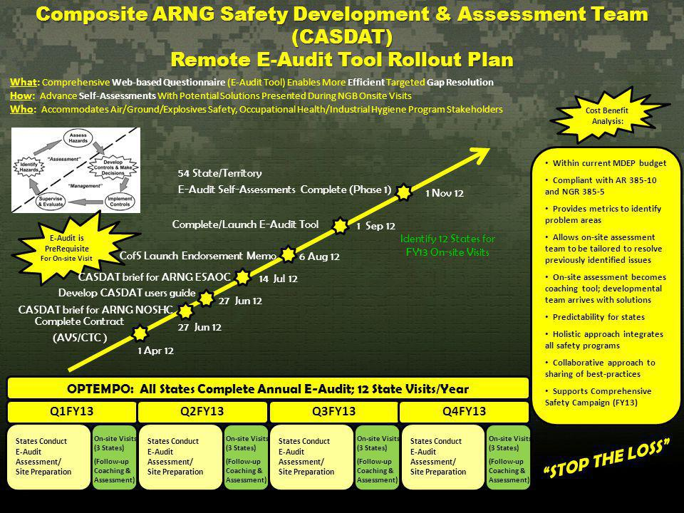 Composite ARNG Safety Development & Assessment Team (CASDAT) Remote E-Audit Tool Rollout Plan