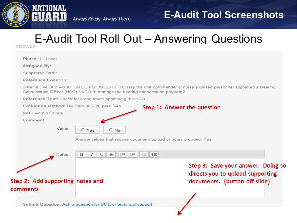 E-Audit Tool Roll Out – Answering Questions