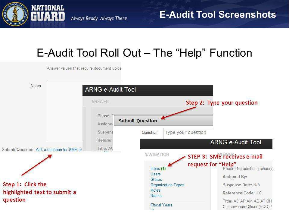 E-Audit Tool Roll Out – The Help Function