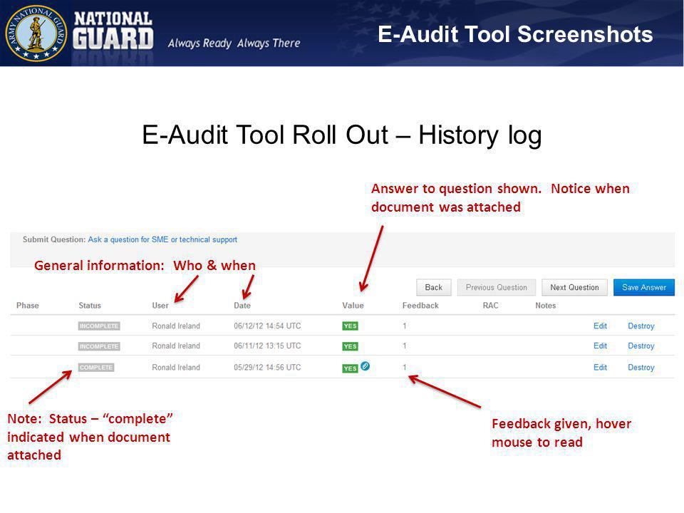 E-Audit Tool Roll Out – History log