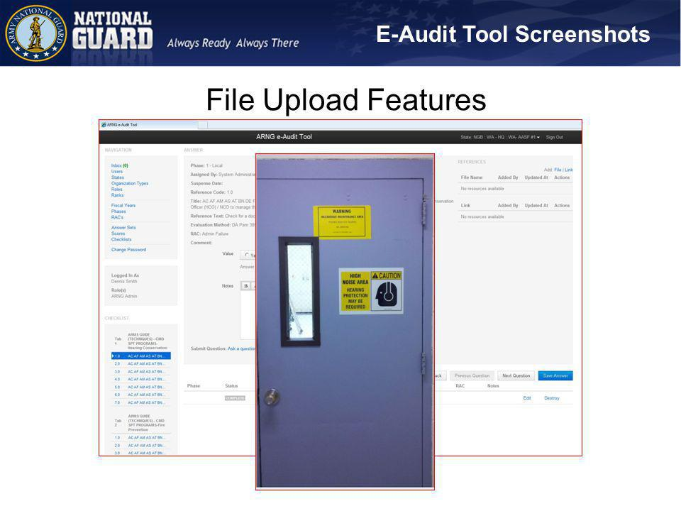 E-Audit Tool Screenshots