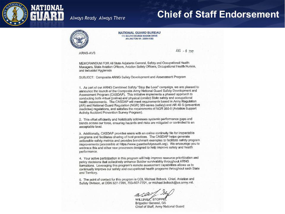 Chief of Staff Endorsement