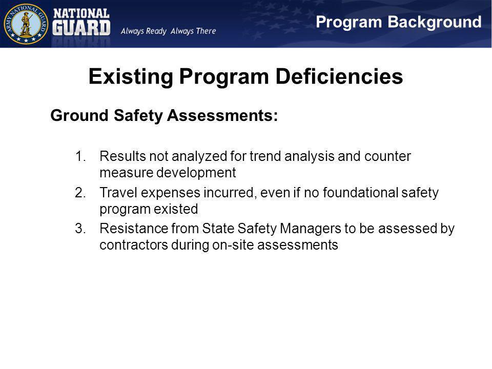Existing Program Deficiencies