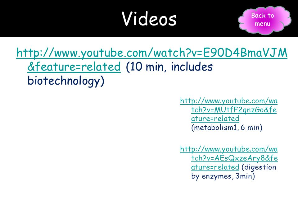 Videos Back to menu. http://www.youtube.com/watch v=E90D4BmaVJM&feature=related (10 min, includes biotechnology)
