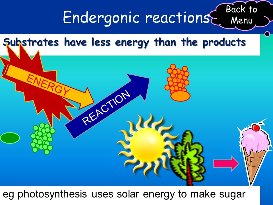 Endergonic reactions Substrates have less energy than the products