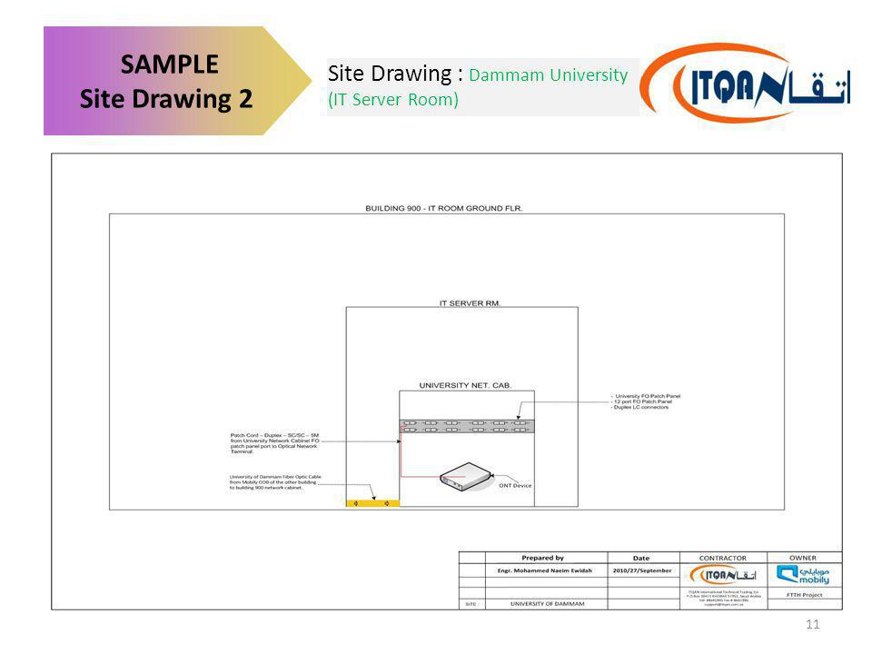 SAMPLE Site Drawing 2 Site Drawing : Dammam University (IT Server Room)