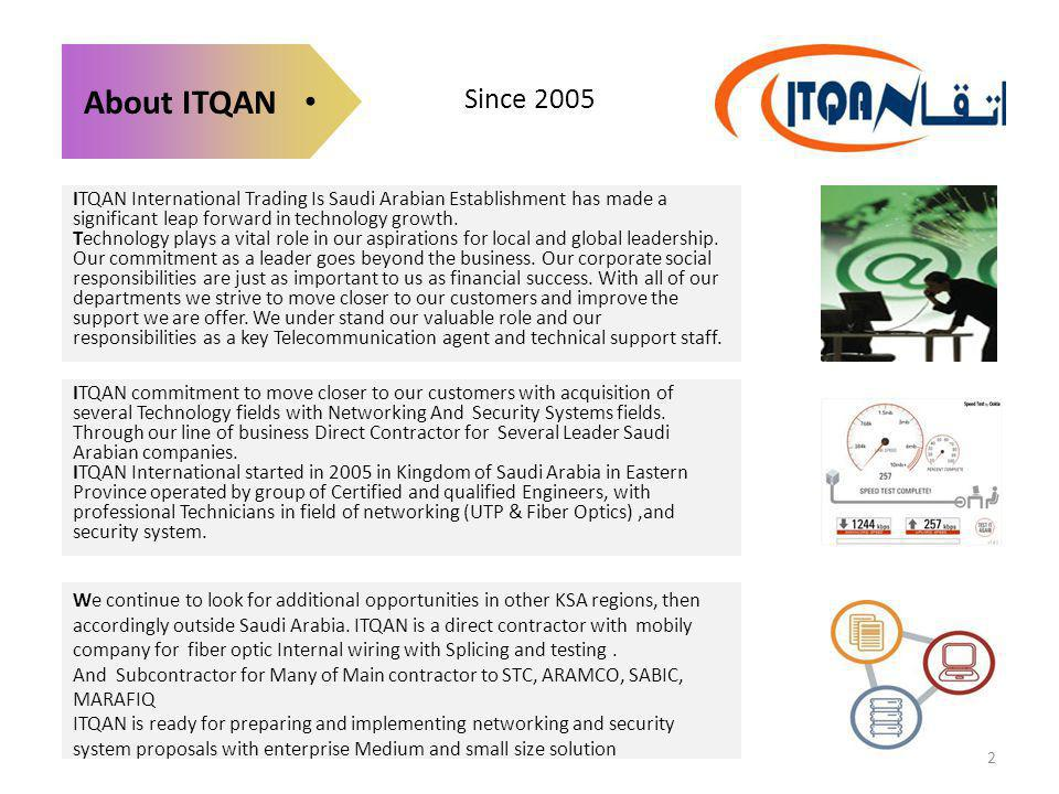 Since 2005 About ITQAN. ITQAN International Trading Is Saudi Arabian Establishment has made a significant leap forward in technology growth.