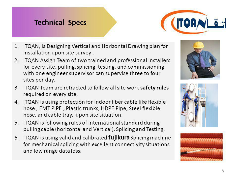 Technical Specs ITQAN, is Designing Vertical and Horizontal Drawing plan for Installation upon site survey .