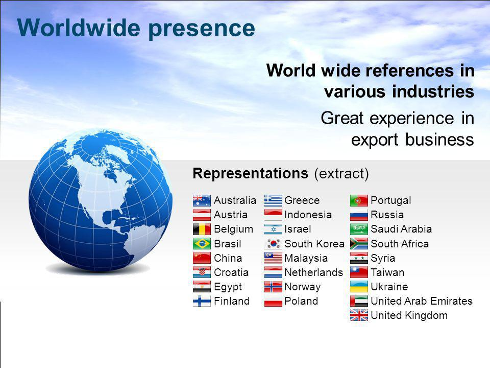 Worldwide presence World wide references in various industries