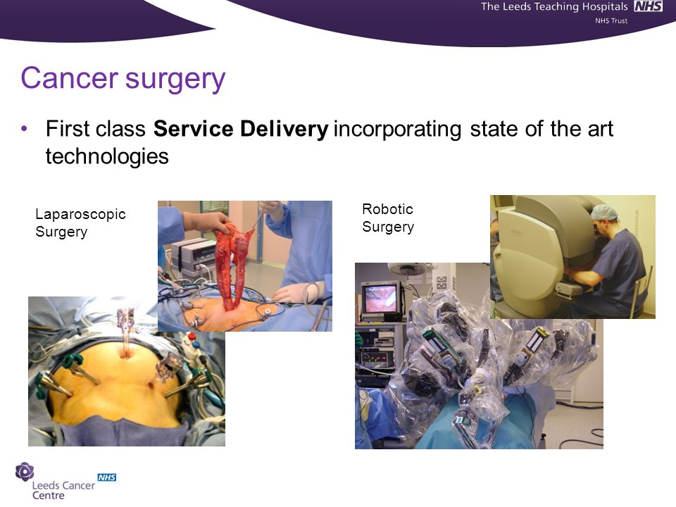 Cancer surgery First class Service Delivery incorporating state of the art technologies. Robotic Surgery.