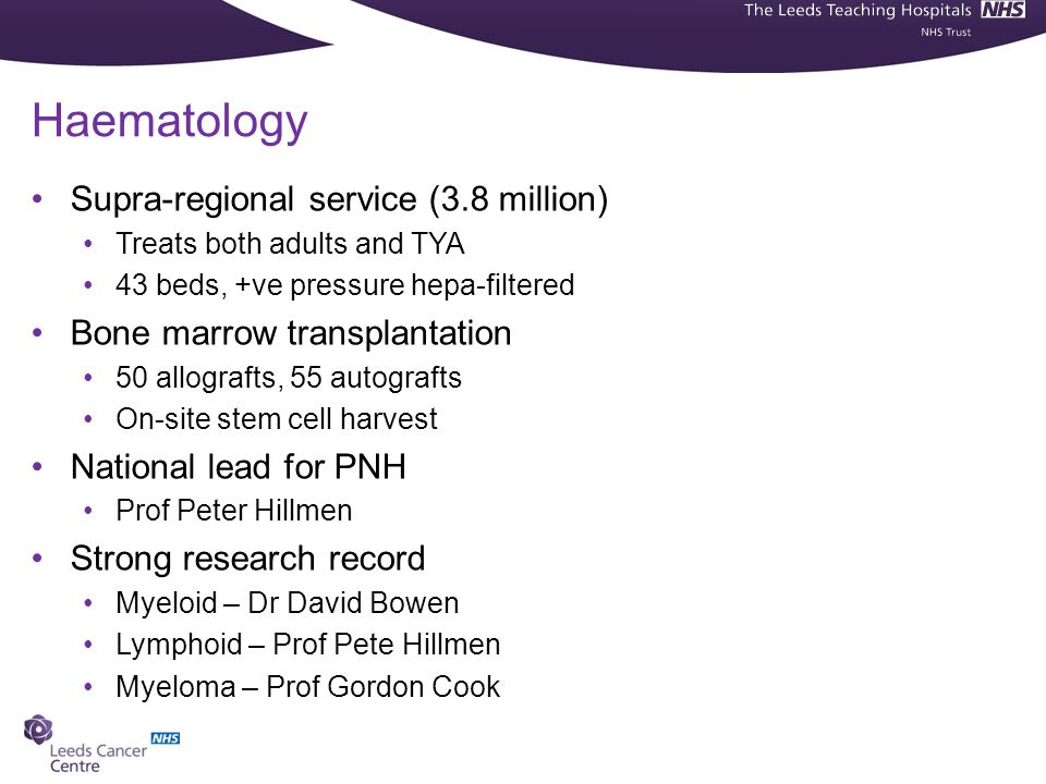 Haematology Supra-regional service (3.8 million)